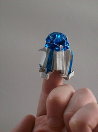Mini Origami R2-D2, folded from a 6 inch square of paper-backed foil